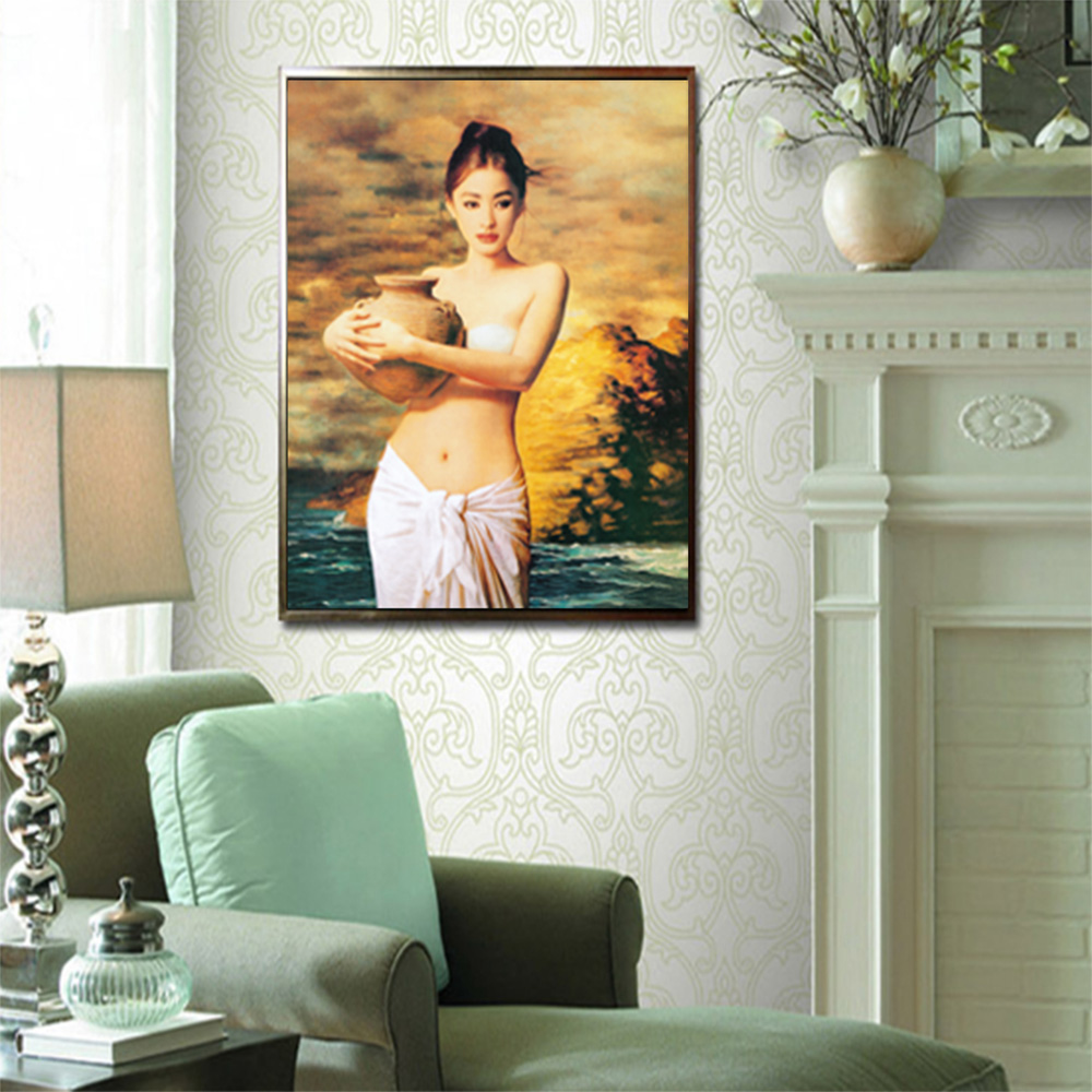 Canvas Prints Hold Pot Female Portrait Wall Art Painting Picture For Living Room Decoration