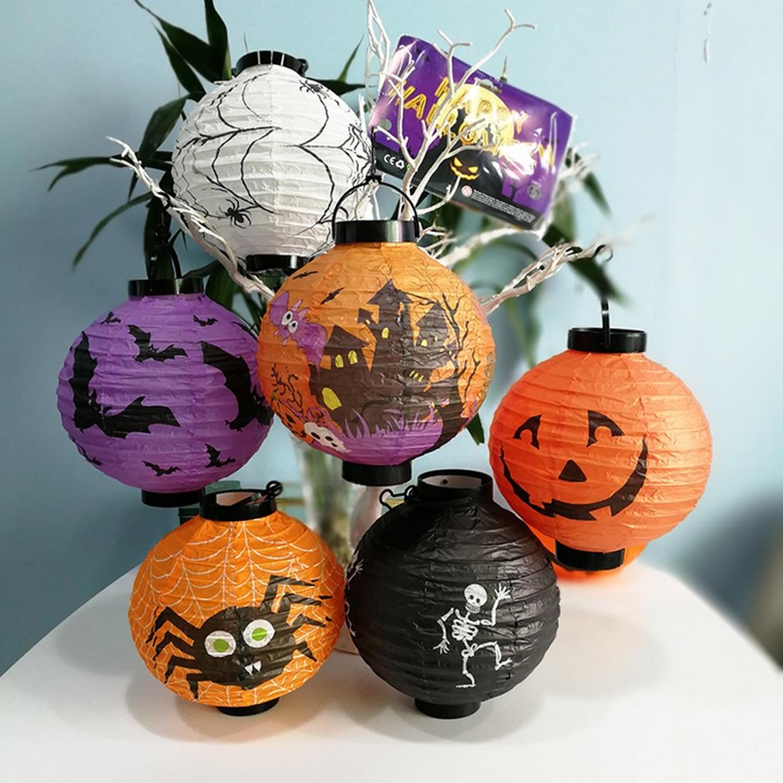 Halloween Decoration LED Paper Pumpkin Hanging Lantern Spider Light Lamp Party Decoration for Home Horror Lantern Supplies