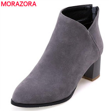 MORAZORA Work office lady ankle boots spring autumn boots high heels zip flock women boots large size 34-43 solid fashion