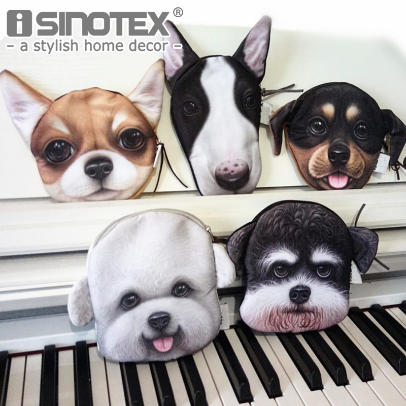 Lovely Coin Purses Wallet Ladies 3D Dog Cute Face Animal Big Face Change Fashion Cute Small Zipper bag for Women Change Purse