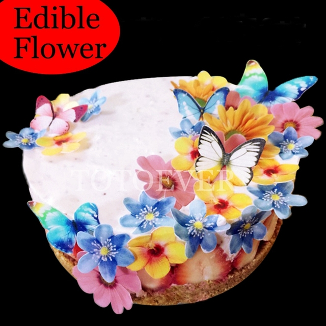 35pcs 3d Edible Flower Cake Decoration Wedding Birthday Party Baby