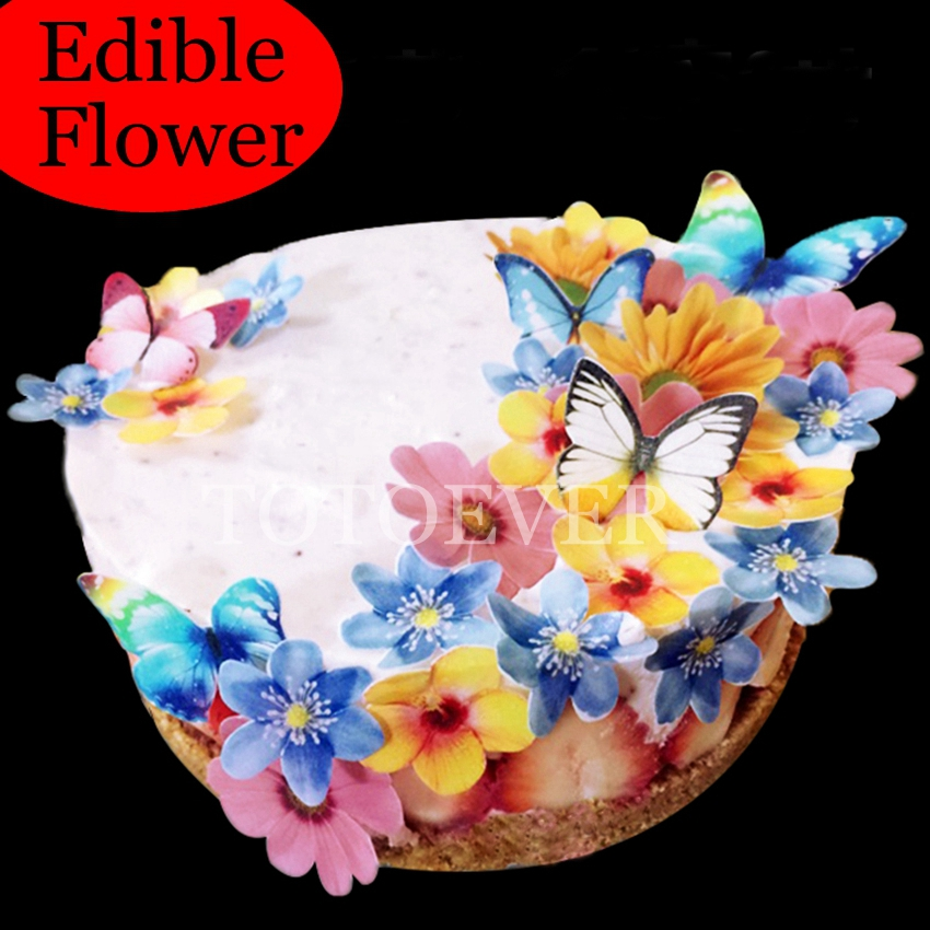 35pcs 3D Edible Flower Cake Decoration Wedding Birthday Party Baby Shower  Cake Idea Decoration Cake Edible