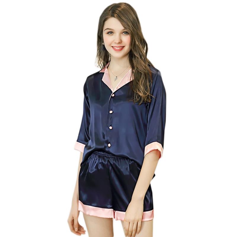 Sexy satin silk short   pajamas   women short sleeves   pajama     sets   women Cute sleepwear women ladies shorts   pajamas   Summer pyjamas