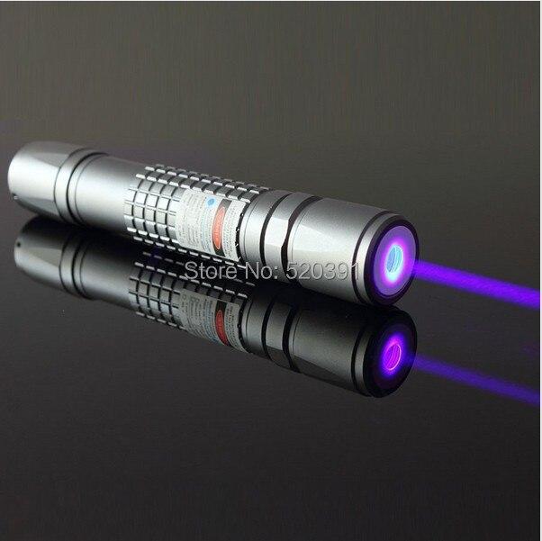 Haute puissance 2000 m 405nm LED Violet Laser Bleu pointeur/UV Violet Lazer Torche Brûler Matchs, Brûler Cigarettes détecteur de faux,
