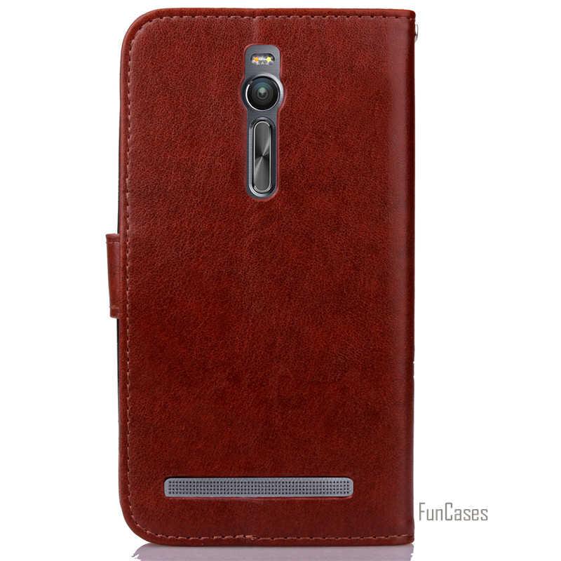 فاخر ريترو جلدية الوجه جراب إيسوز Zenfone 2 ZE551ML ZE550ML 5.5 بوصة محفظة جراب هاتف الغطاء الخلفي مع حامل بطاقة. _
