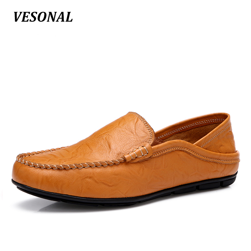VESONAL 2017 Summer Breathable Soft Genuine Leather Flats Loafers Men Shoes Casual Luxury Fashion Slip On Driving Designer V103 vesonal 2017 summer luxury driving breathable genuine leather flats loafers men shoes casual fashion slip on size 38 44 v1602