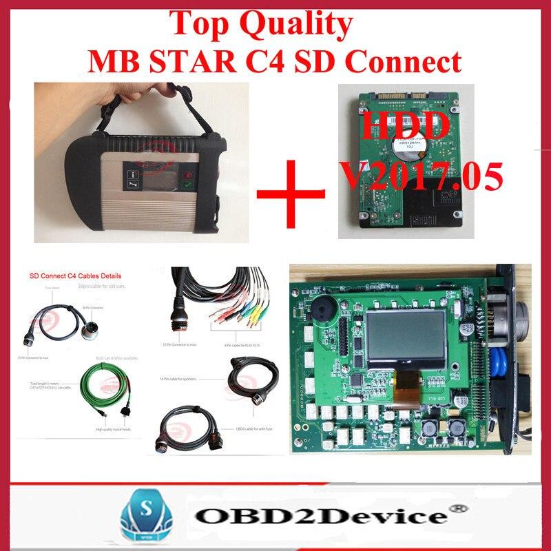 Prix pour Top Qualité Wifi Mb Star C4 SD Connetct avec Gagne 7 MB SD Connect Compact 4 Logiciel HDD 05/2017 V Xentry/Vediamo DHL Livraison