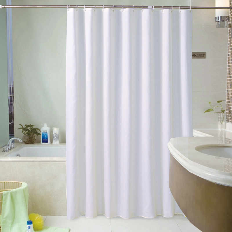 Japanese-style White Shower Curtain Solid Color Polyester Fabric Thick Waterproof Curtain Simple Bathroom Set Partition Curtain