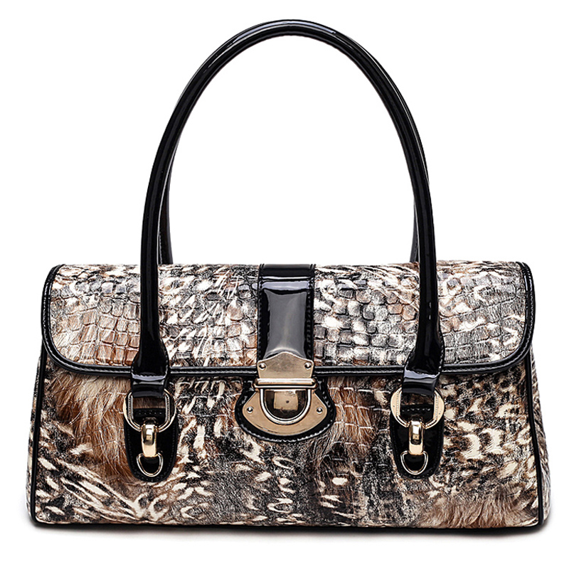 Brand Women tote bag female fashion prints leather handbags women boston bag large shoulder bag designer Purses luxury handbags