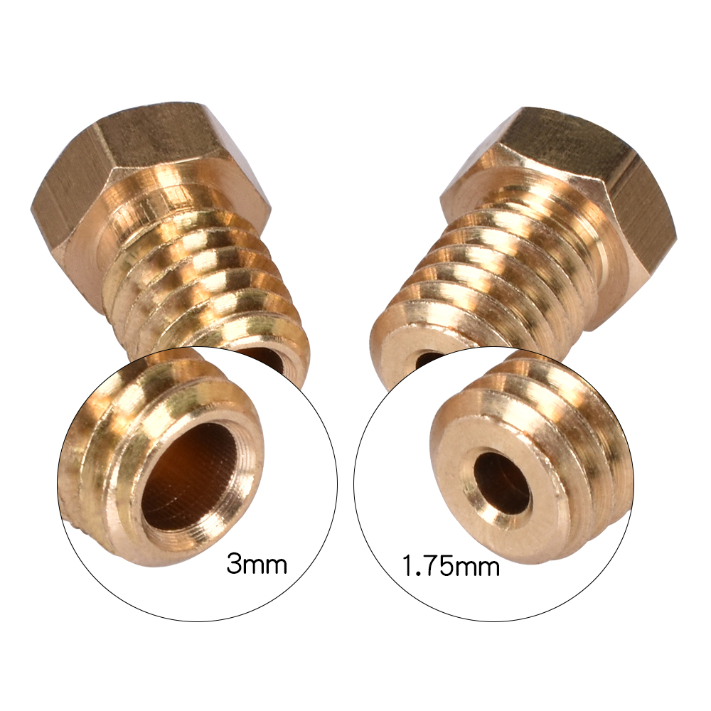 5Pcs 3D Printer Parts V6&V5 J-Head Brass Nozzle Extruder Nozzles 0.2/0.25/0.3/0.4/0.5/0.6/0.8/1.0 Mm For 1.75/3.0mm Filament