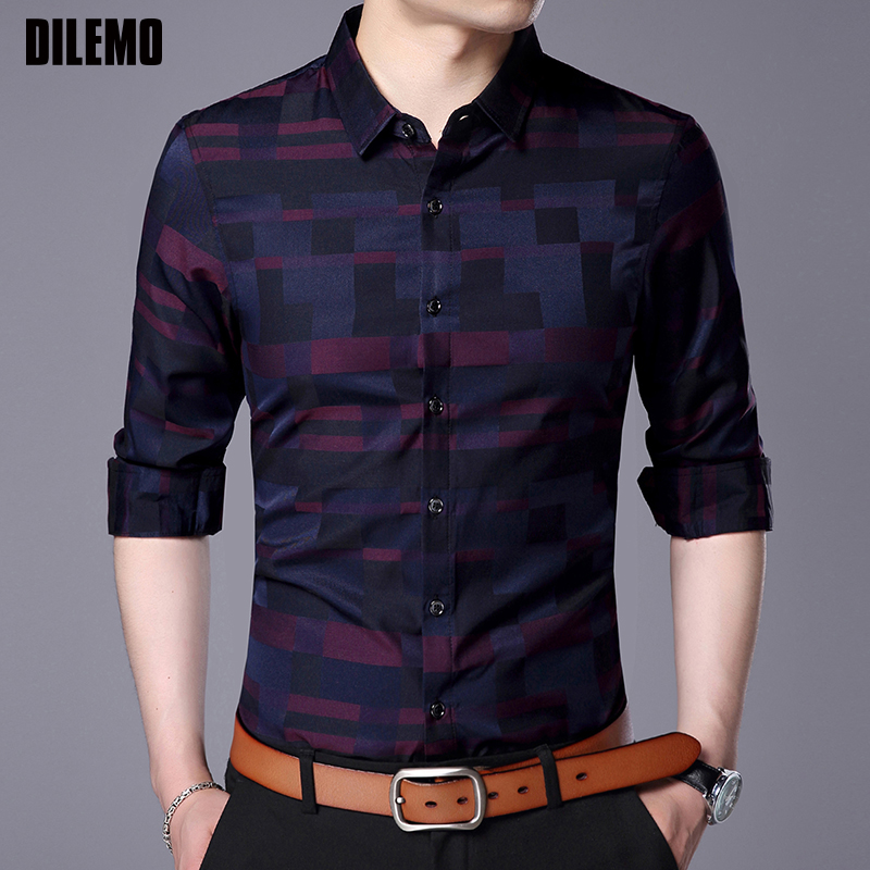 2019 Fashion Brand Shirt For Men Button Up Plaid Korean Slim Fit Streetwear Long Sleeve Dress Shirt Checkered Mens Clothing