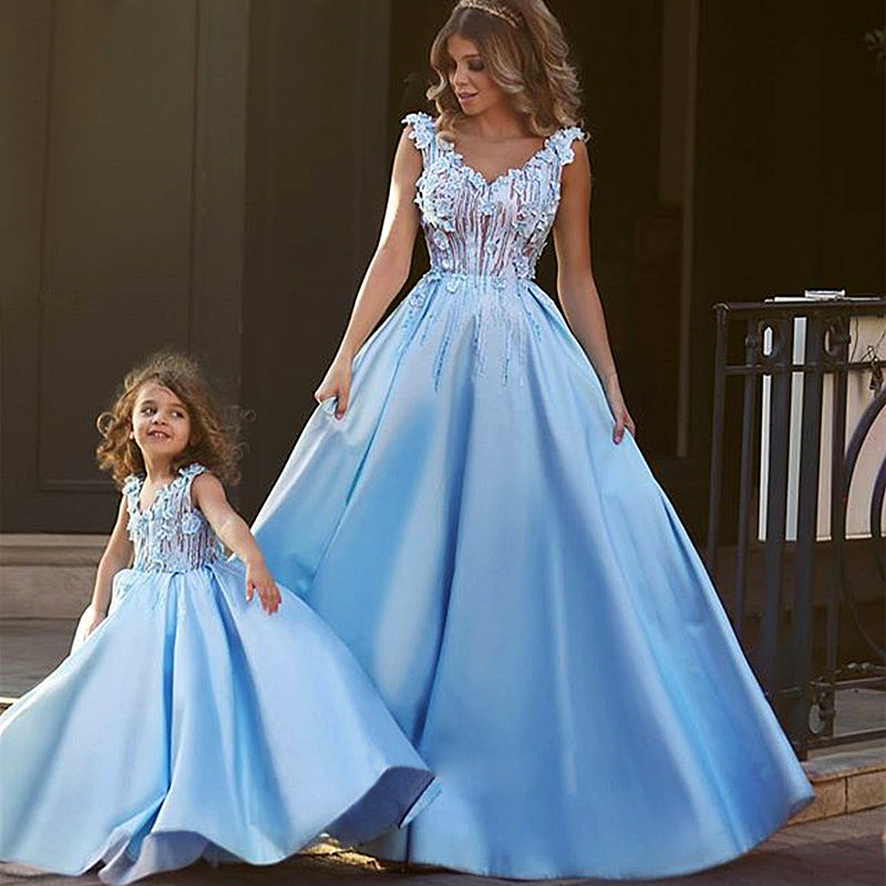 Matching Mother Daughter Clothes Dress Party Mom and Daughter Dress Wedding Formal Clothes Mother Kids Matching Elegant Dresses spring new matching mother daughter clothes bow patchwork mother daughter dresses party mom and daughter dress family look dress