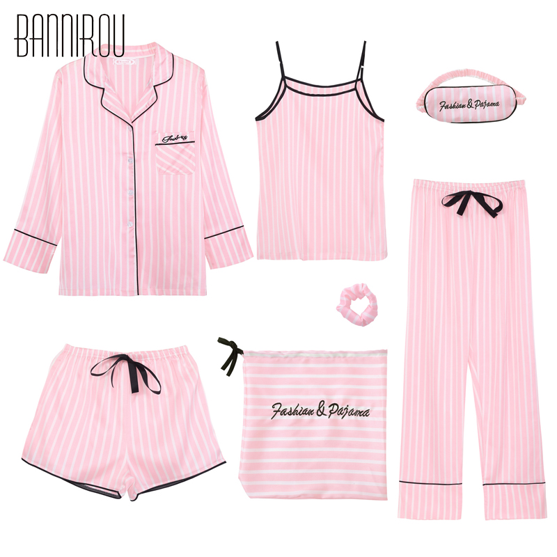 7 Piece Striped Woman Pajama Set Silk Pink Full Shorts Spaghetti Strap Suit Summer Spring Autumn Winter New Female Lovely Pyjama