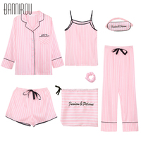 7 Piece Striped Woman Pajama Set Silk Pink Full Shorts Spaghetti Strap Suit Summer Spring Autumn Winter New Female Lovely Pyjama