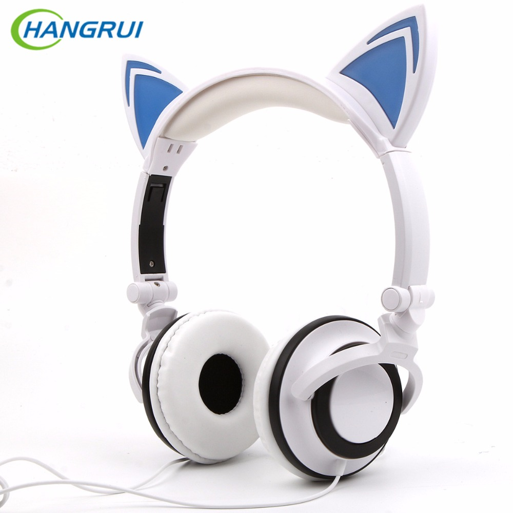 HANGRUI Glowing Cat Ear Headphones Flashing Foldable Gaming Headset Sport Headphone for Computer Mobile Phone Laptop PC Gamer foldable cat ear headphones gaming headset earphone with glowing led light for phone computer best halloween gift for girls kids