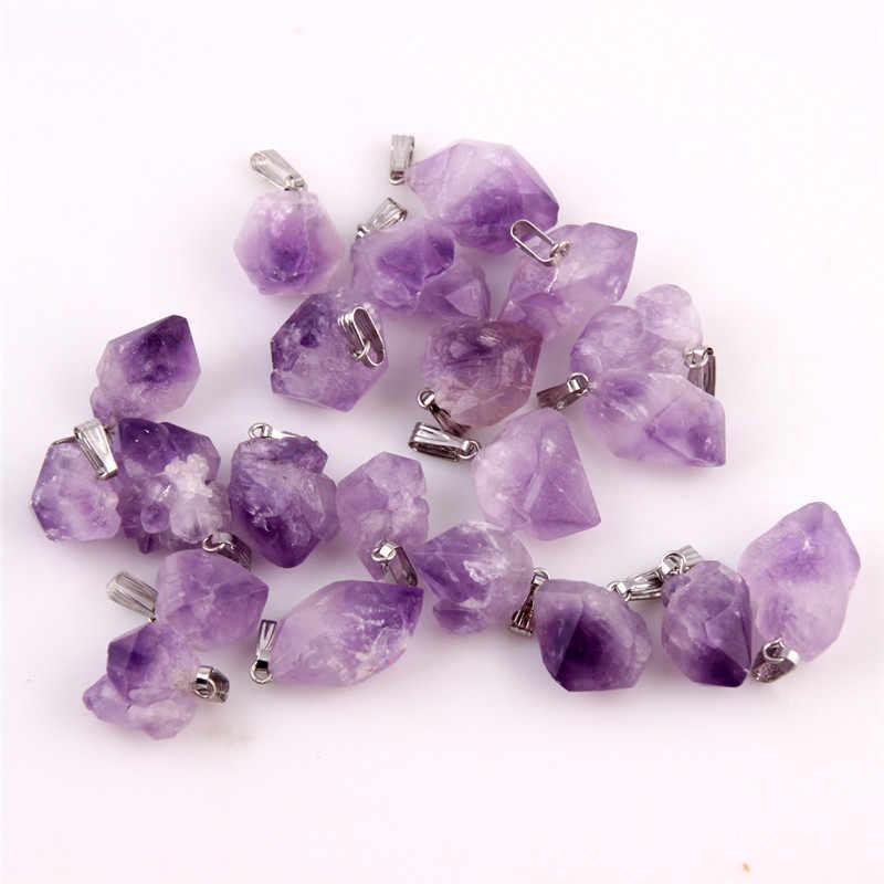 ナチュラルポイント石ペンダント振り子紫ヒーリングクリスタルチャビーズランダムサイズ送料無料