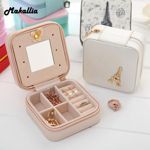 Makallia Creative Jewelry Box Mini Pu Leather Casket For Travel Case Best Birthday Gift Ring