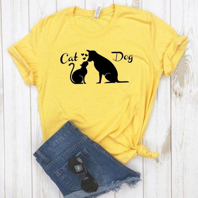Miłość przyjaźń między psem kot koszulka damska bawełna Casual Funny t shirt prezent dla pani Yong dziewczyna koszulka 6 kolor Drop Ship S-805