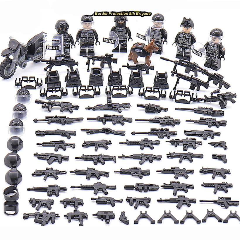 6PCS/Set 2019 Modern SWAT Military Armed Forces Scene Soldiers Figure Weapon Building Blocks Children Toys