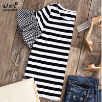 Dotfashion Striped T Shirt With Gingham Ruffle Sleeve Top Women Summer Basic Black And White Striped
