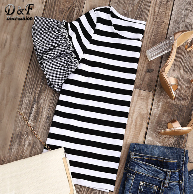 Dotfashion Striped T-shirt With Gingham Ruffle Sleeve Top Women Summer Basic Black and White Striped Casual Tee Shirt