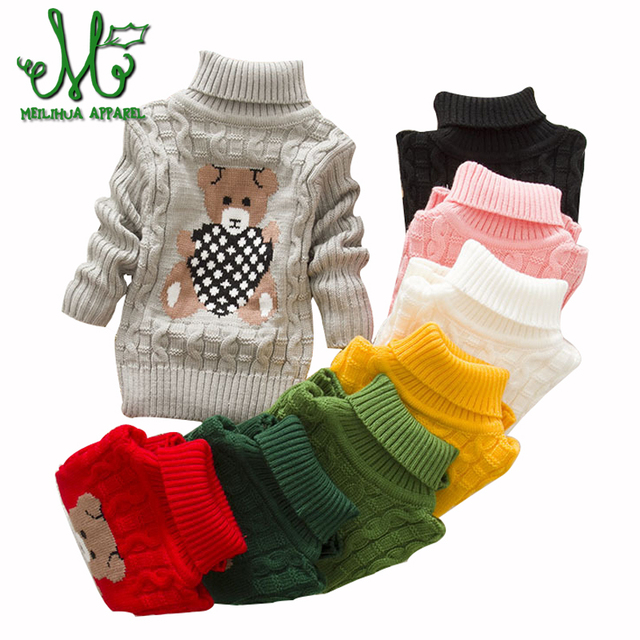 84d9edfad Baby Girls cartoon Sweaters Winter 8 colors Girl Long Sleeve Knitted ...