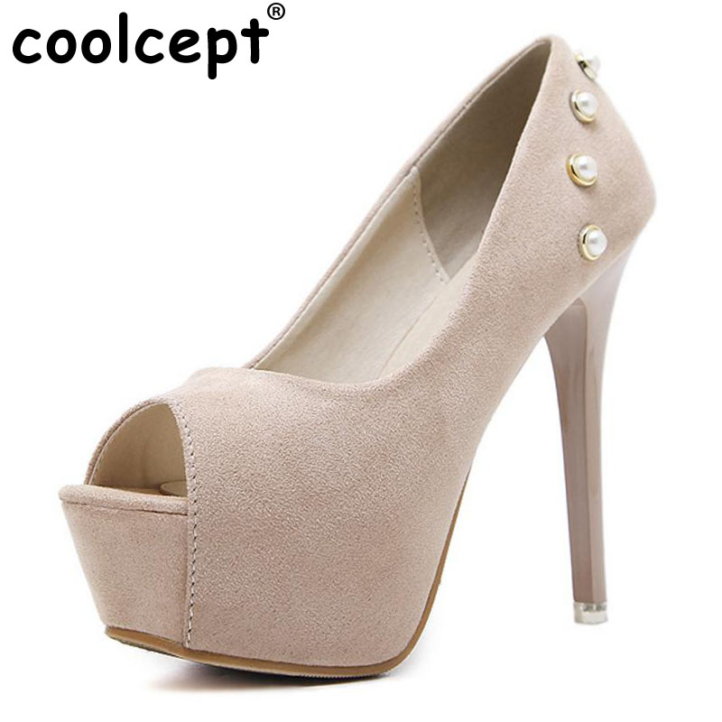 Coolcept High Heels Women Pumps Peep Toe Platform Sex Thin Heels Suede Leather Brand Shoes Ladies Sapato Feminino Size 34-39 women luxury shoes platform pumps bridal wedding lolita shoes black red beige bottom peep toe high heels fetish shoes size 4 16