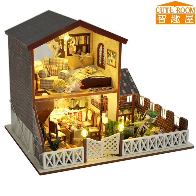 New Doll House Toy Miniature Wooden Doll House Loft With: Assemble DIY Doll House Toy Wooden Miniatura Doll Houses
