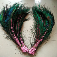 Wholesale beautiful pink peacock feather sword 50 pcs symmetrical size 30-40 cm 12-16 inches celebration decoration