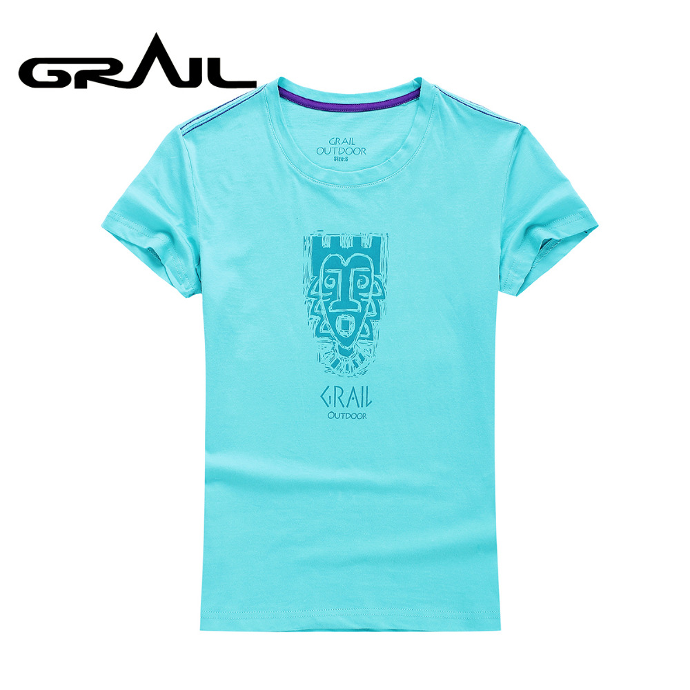 GRAIL Women Outdoor Exercise T-shirt Flexible Quick Dry Sky Blue Tee Camping Hiking tshirt 7504A