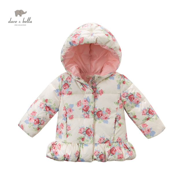 DB4138 DAVEBELLA menina floral poliéster jaqueta crianças jaqueta de inverno outerwear
