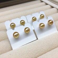Women Gift word 925 Sterling silver real Natural seawater Jinzhu 7-8 mm round flawless  Ear Stud Earrings