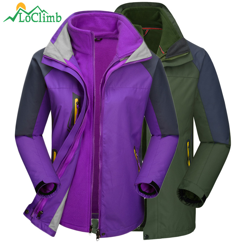 LoClimb Winter Camping Hiking Clothing Men Women Waterproof Fleece Jackets Climbing Rain Coats Outdoor Ski Sport