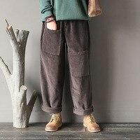 2018 Autumn Winter Trousers For Women Casual Solid Harem Pants Vintage Elastic Waist Corduroy Pockets Loose