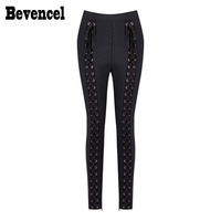 Bevencel 2017 New Fashion Ispirato Luxe Metallo Circle Abbellito Lace Up Donne All'ingrosso Fasciatura Pantaloni Leggings