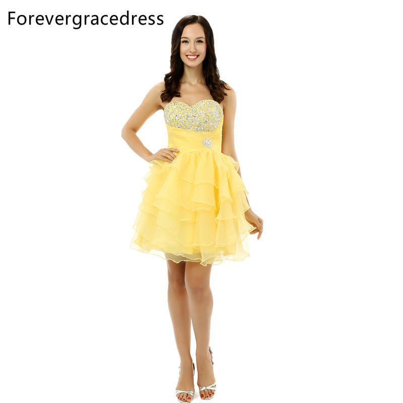 Forevergracedress 2018 Sexy Yellow Short   Prom     Dress   Ruffles Sweetheart Beaded Crystal Lace Up Party Gown Plus Size Custom Made