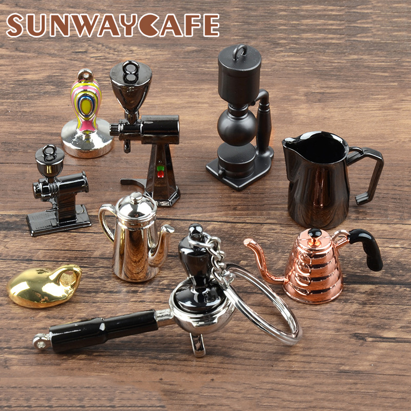 Coffeeware Espresso Accessories Gift Coffee Machine Handle Moka Pitcher Keyring Portable Creative Barista Coffee Tamper Keychain