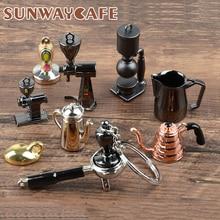 Café expresso accessoires cadeau Machine à café poignée Moka pichet porte clés Portable créatif Barista café inviolable porte clés