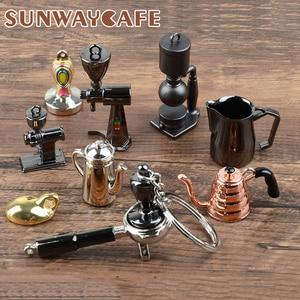 Image 1 - Coffeeware אספרסו אביזרי מתנה קפה מכונת ידית מוקה קנקן Keyring נייד Creative ריסטה קפה לחבל Keychain