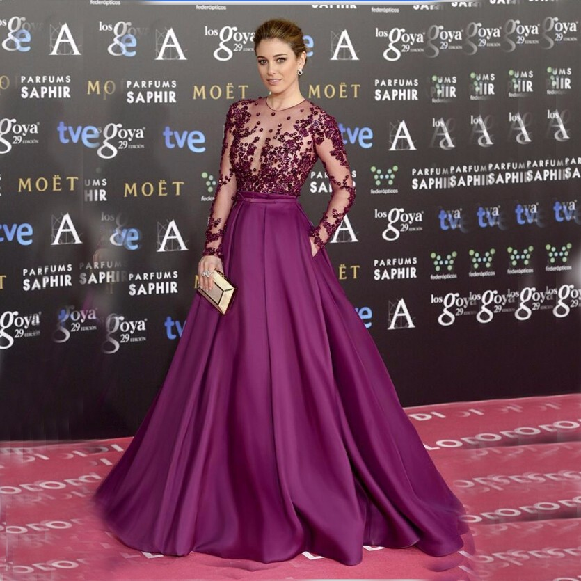 Women Purple Long Sleeve Evening Gowns Elegant Formal Long Dresses Satin A line Celebrity Formal Dresses Evening 2019 gown