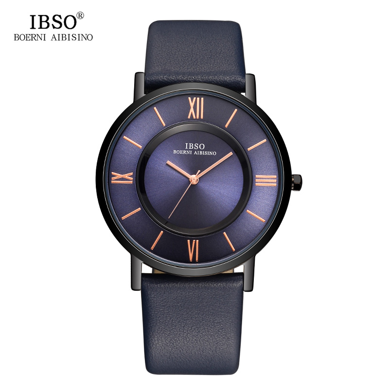 IBSO Mens Watches Brand Luxury 7 MM Ultra-thin Watch Men Genuine Leather Strap Blue Quartz Wristwatch Fashion Relogio Masculino oulm mens designer watches luxury watch male quartz watch 3 small dials leather strap wristwatch relogio masculino