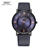 Ibsoメンズ腕時計ブランド高級7ミリメートル超薄型時計男性本革ストラップブルークォーツ腕時計ファッションレロジオmasculino