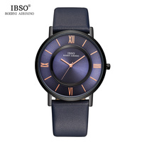 IBSO Mens Watches Brand Luxury 7 MM Ultra Thin Watch Men Genuine Leather Strap Blue Quartz
