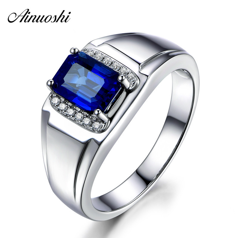 AINUOSHI 1 5 Carats Big Blue Sona Halo Bridal Ring Fashion 925 Sterling Silver Women Rings