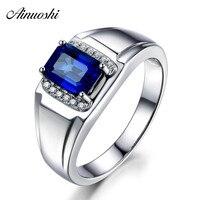AINUOSHI 1.5 Carats Big Blue Sona Halo Bridal Ring Fashion 925 Sterling Silver Women Rings Wedding Engagement Anniversary Gifts