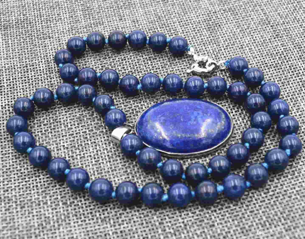AAA Natural 8mm Egyptian Lapis Lazuli Gem stone pendant Necklace 18X25MM>>> free   shipping