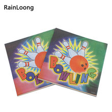 [RainLoong] Paper Napkins Bowling Sport Print Tissue Napkins Decoration Serviettes 33x33cm 1pack/lot(China)