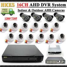 Video Surveillance System 16 Channel AHD 1080N DVR Equipment with Out of doors Indoor cctv digicam 720P