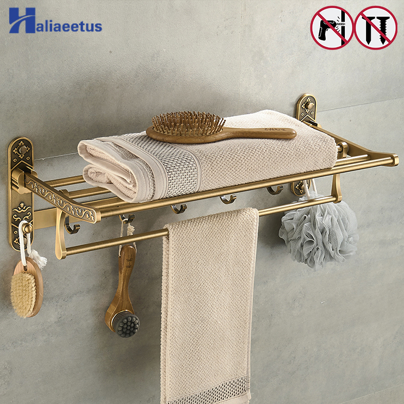 Nail Free Foldable Antique Brass Bath Towel Rack Active Bathroom Towel Holder Double Towel Shelf With Hooks Bathroom Accessories zgrk foldable antique brass bath towel rack active bathroom towel holder double towel shelf bathroom accessories 96031 mh