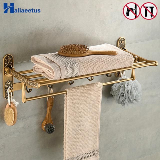 Nail Free Foldable Antique Brass Bath Towel Rack Active Bathroom ...
